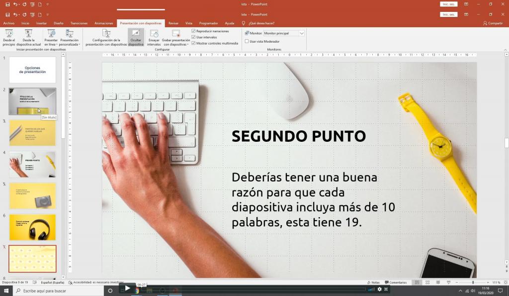 Opciones adicionales de presentación en powerpoint