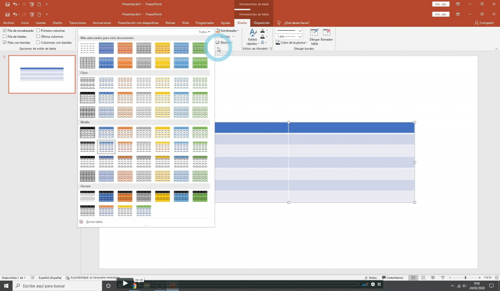 Trabajar con Tablas en powerpoint
